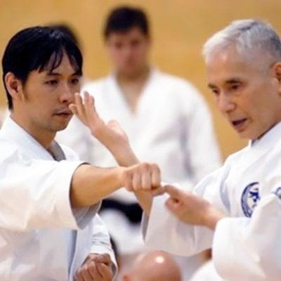 Training with master at Wado-Ryu Karate Do Ju-Jutsu Kempo, traditional karate classes in Aldershot, Farnham, Guildford & Haslemere